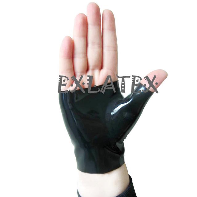 Latex Gloves Unisex Mittens Short Gloves Gauntlets Latex Rubber Mixed Toe Wrist Fingerless Gloves Fetish Costume Female Gloves