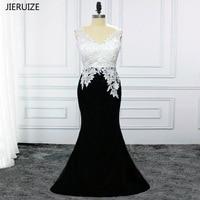 JIERUIZE черно белые кружевные аппликации Русалка Вечерние платья Длинные вечерние платья с открытой спиной Вечерние платья vestido de festa