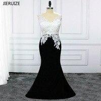 JIERUIZE Black And White Lace Appliques Mermaid Evening Dresses Long Backless Evening Gowns Formal Dresses vestido de festa