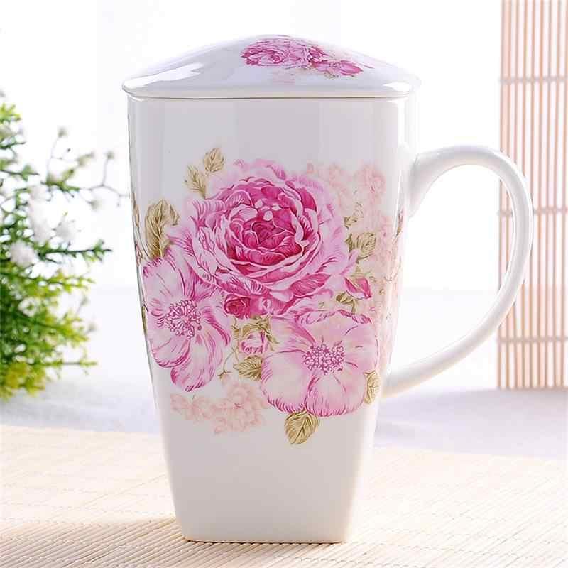 700 مللي ، حقيقية العظام الصين البهلوانات مع غطاء ، تازة مقهى مضحك القدح ، لطيف كبير أكواب القهوة الزهور الطلاء ، كوب سيراميك هدية مثالية