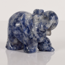 2 Inch Elephant Figurines Craft Carved Natural Stone Sodalite  Elephant Mini Animals Statue for  Home Decor Chakra Healing