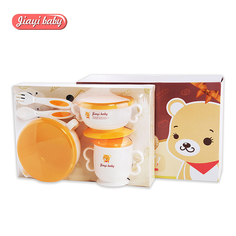 6pcs/set Baby Feeding Set with Sucker Bowl Food Grade PP Fork Spoon Cup Plate Dinnerware Set Children Anti Scald Tableware