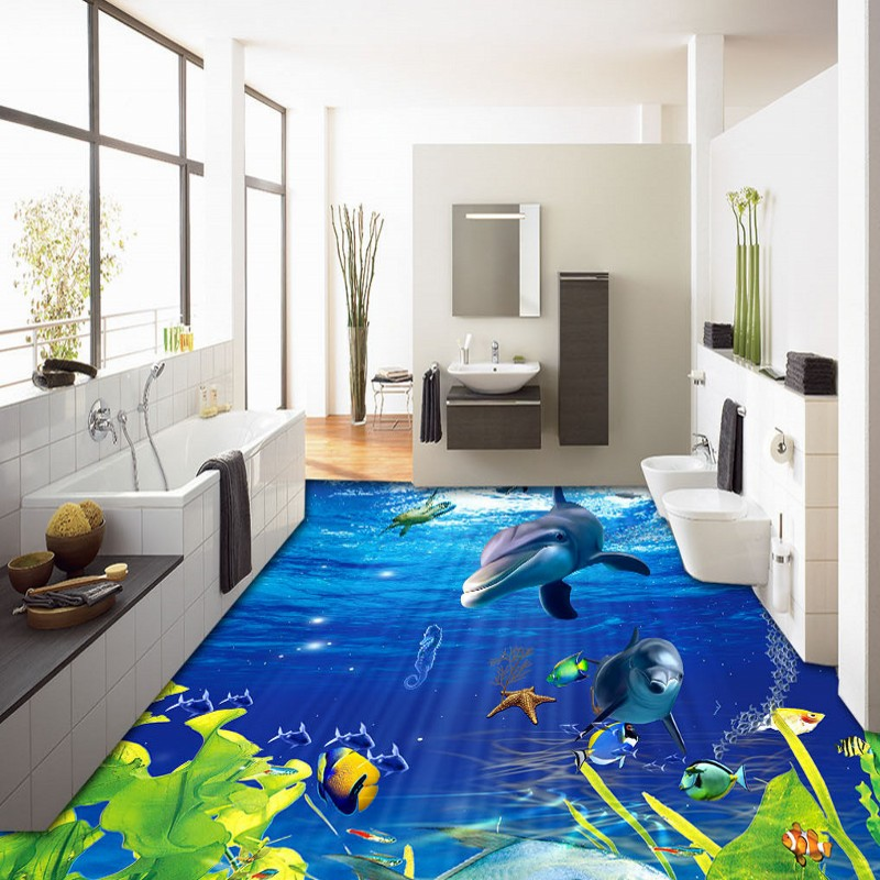 Free Shipping 3D Sea World Dolphin floor Background picture living room home kitchen floor wallpaper mural