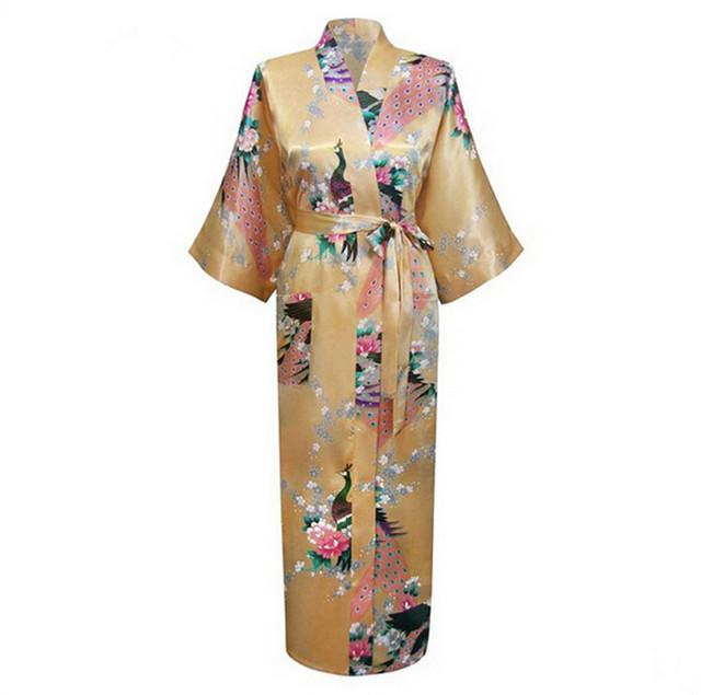 Longo estilo Lady Kimono de casamento roupão Robe noite vestido salão Sleepwear com bolso RB009