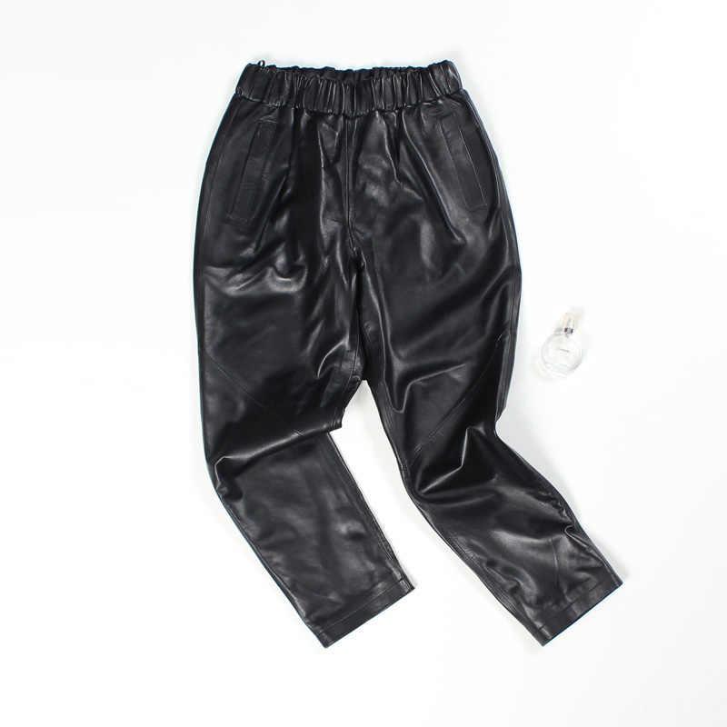 2020 sonbahar deri pantolon kadın Harem yüksek bel pantolon Streetwear Vintage kadın pantolon rahat seksi siyah gri deri pantolon