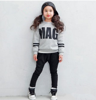 2016 Kids clothing set Spring autumn Cotton Girls Clothes set Children Suits Trendy fashion Girls,coat+pant