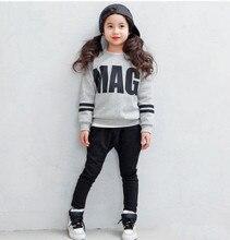 2016 Дети комплект одежды Весна осень Хлопка Девочек Одежда набор Детей Костюмы модные Девушки, пальто + брюки