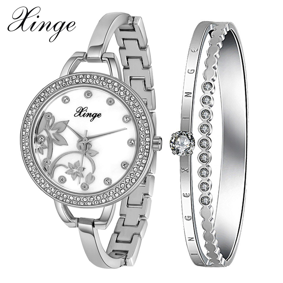 Xinge Brand Women Rose Gold Casual Watch Jewelry Quartz Bracelet Watch Set ladies Dress Minimalist Gold Wristwatch XG388 xinge brand watch women bracelet rhinestone chain bangles jewelry watch set wristwatch waterproof ladies gold quartz watch