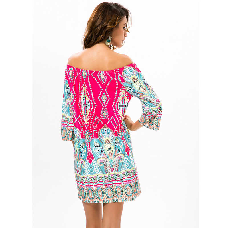 037652aaf8eb9 ... HAOYUAN Off Shoulder Women Summer Beach Indian Dress Boho Sexy Bohemian  Vintage Dresses Sundress Vestidos Robe ...