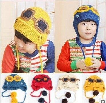 2013 new children's skullies beanies wool cotton superman with glasses flying cap korea children 3-9 years old adjustable skullies