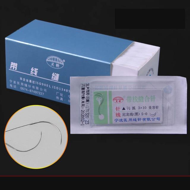 10pc/set Nylon Thread Suture Needle Beauty Double Eyelid Embedding Eyebrow Pouch Open Eye Suture 2