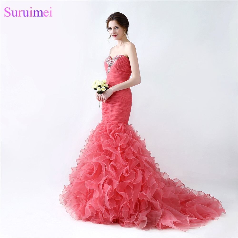 Formal Dresses In Memphis Tn: New Arrival Organza Red Coral Prom Dresses Sweetheart