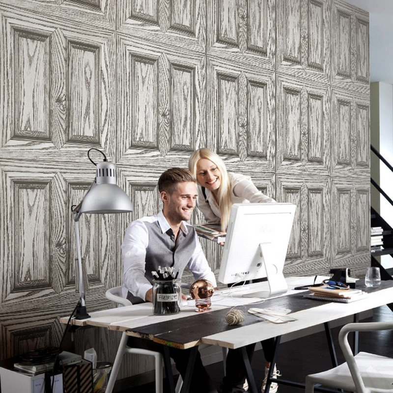 Beibehang Simulation wood grain pvc wallpaper cafe bar back wall restaurant study wallpaper gray brown blue 3d wallpaper photo beibehang 3d stereo simulation wood grain pvc thick wallpaper hotel cafe bark trunk round wood background wallpaper