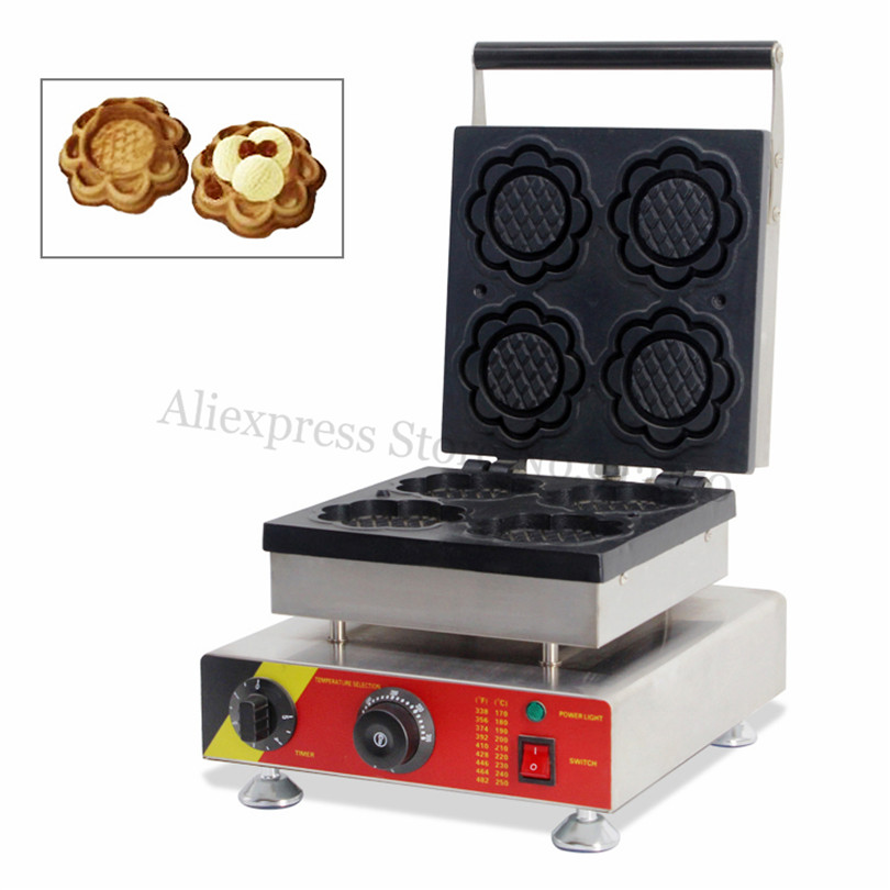 Commercial Snack Waffle Maker Ice Cream Bowl Waffle Baker Machine Stainless Steel Flower Shape Non-stick Molds 4 commercial non stick carton bear waffle baker stainless steel waffle machine unique design with 2 pcs molds 220v 110v