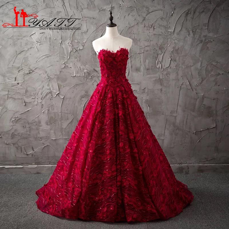 Real Photo 2017 Vin Rouge Chérie Dentelle Puffy robe de Bal Vintage Arabe RU Western Pays Formelle de Soirée De Bal Robe LIYATT