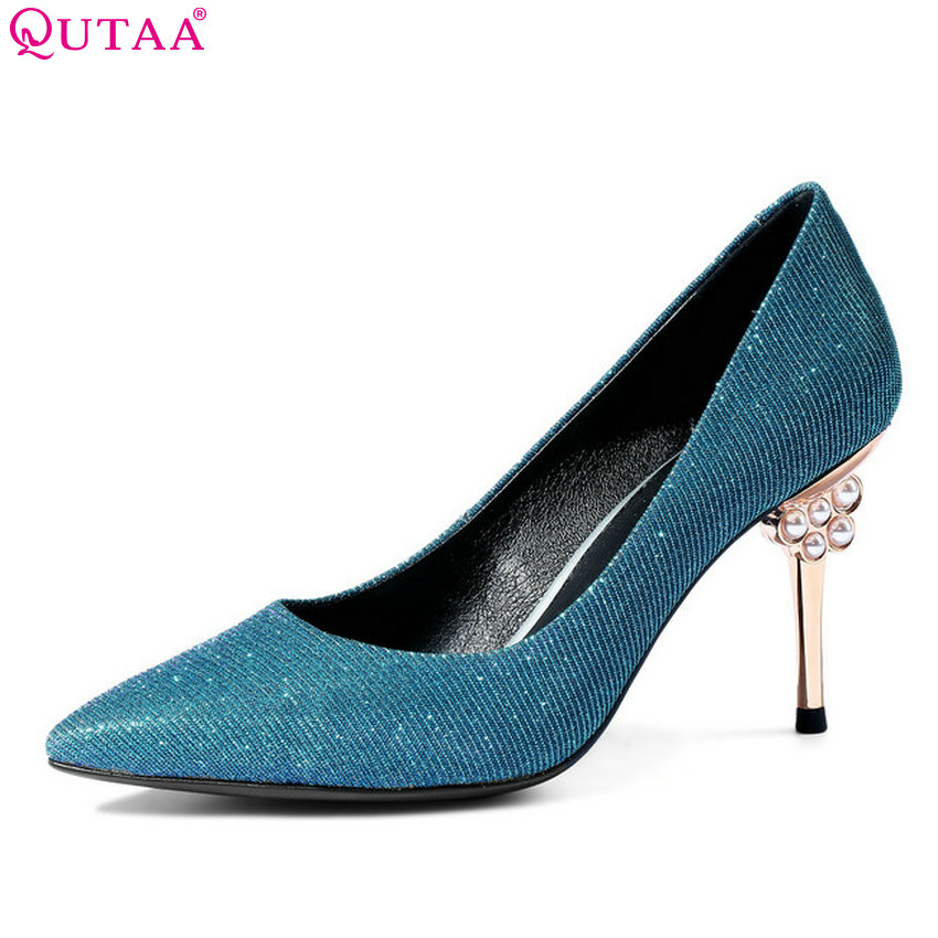QUTAA 2018 Women Pumps Genuine Leather+pu Fashion Platform Women Shoes Slip on Thin High Heel Sexy Ladies Pumps Size 34-43 nayiduyun women genuine leather wedge high heel pumps platform creepers round toe slip on casual shoes boots wedge sneakers