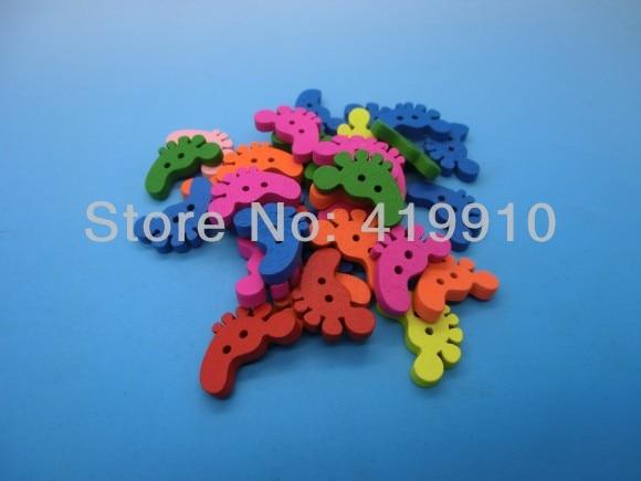 Free shipping -100PCs Randomly Mixed Feet 2 Holes Wood Painting Sewing Buttons Scrapbooking 21x17mm, J1329