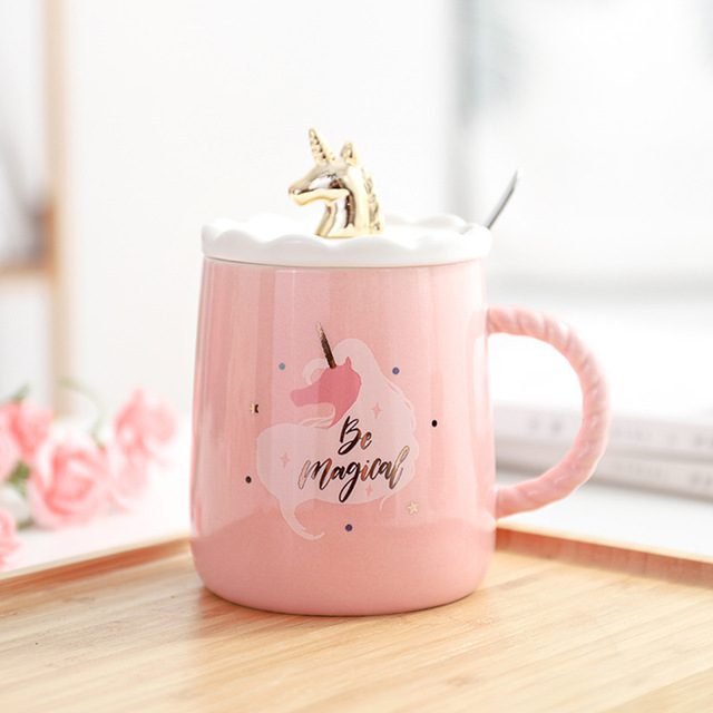 Magical Unicorn Coffee Mug with 3D Glod Lid and Spoon Ceramic Tea Water Cup Gift for Women Girls Pink 1