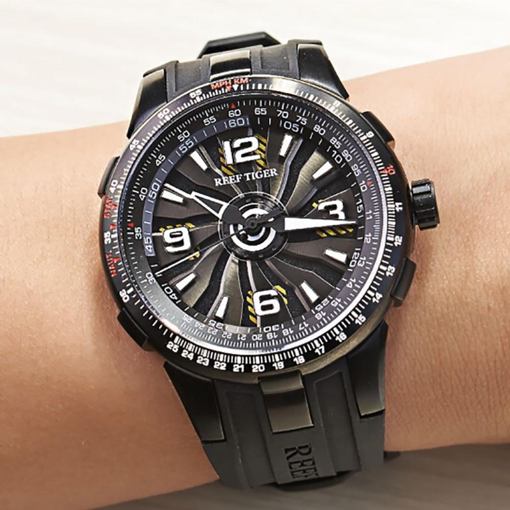 New Reef Tiger / RT Męskie sportowe automatyczne zegarki Black Steel - Męskie zegarki - Zdjęcie 2