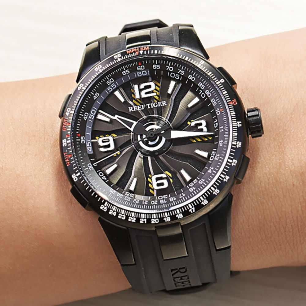 Novo 2019 reef tiger/rt esporte masculino relógios automáticos preto aço militar relógio luminoso à prova drágua marca de luxo rga3059