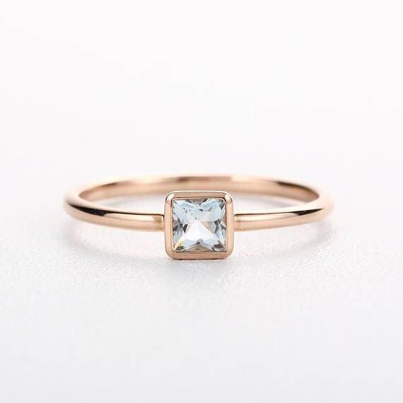 Myray Natural Blue Princess Cut Aquamarine Engagement Ring 14k Rose