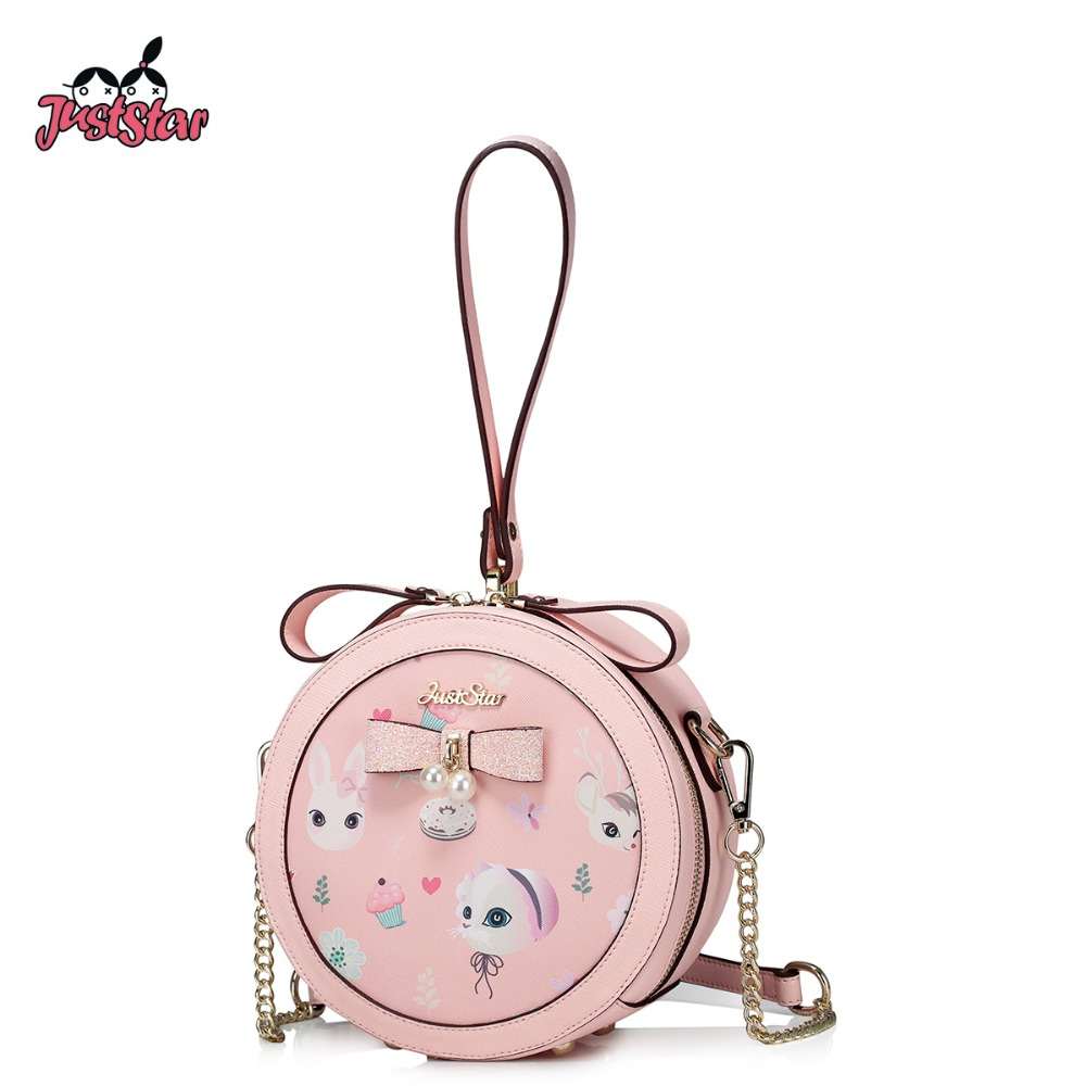 JUST STAR Women PU Leather Handbag Ladies Fashion Small Circular Tote Shoulder Bag Female Cartoon Printing Messenger Bags JZ4268 купить