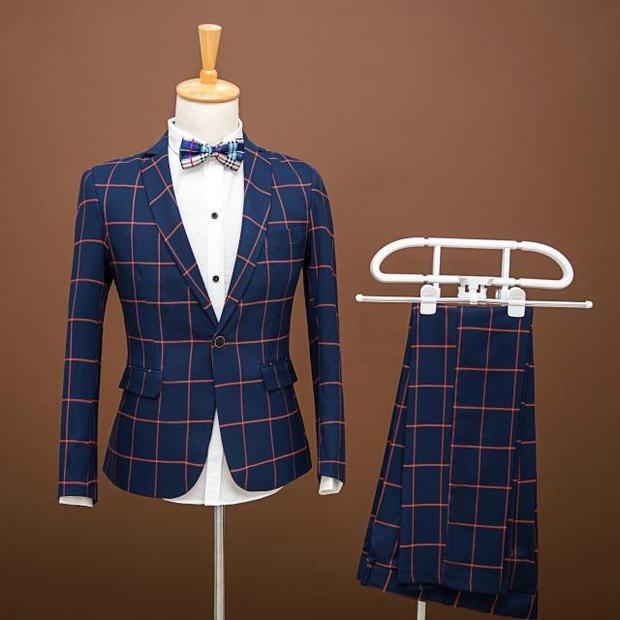 2016 Más tamaño A Cuadros Moda Masculina Casual de negocios blazers traje Masculino trajes delgados fijó el novio vestido formal Masculina cantante etapa desgaste