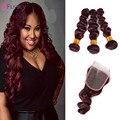 7A Burgundy Peruvian Virgin Human Hair Weaves Loose Wave 4Pcs/lot 99J Hair Extensions Red Hair Bundles With 4x4 Lace Closure