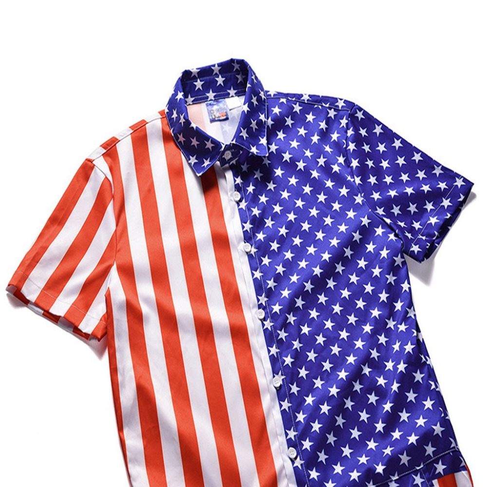 New!Mens American Flag Striped Button Short Sleeve Top Shirt Siamese Pants