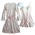 2017 spring sexy women's full sleeve pink color robe & gown set silk satin gecelik robe sexy women sleepwear indoor wear hot