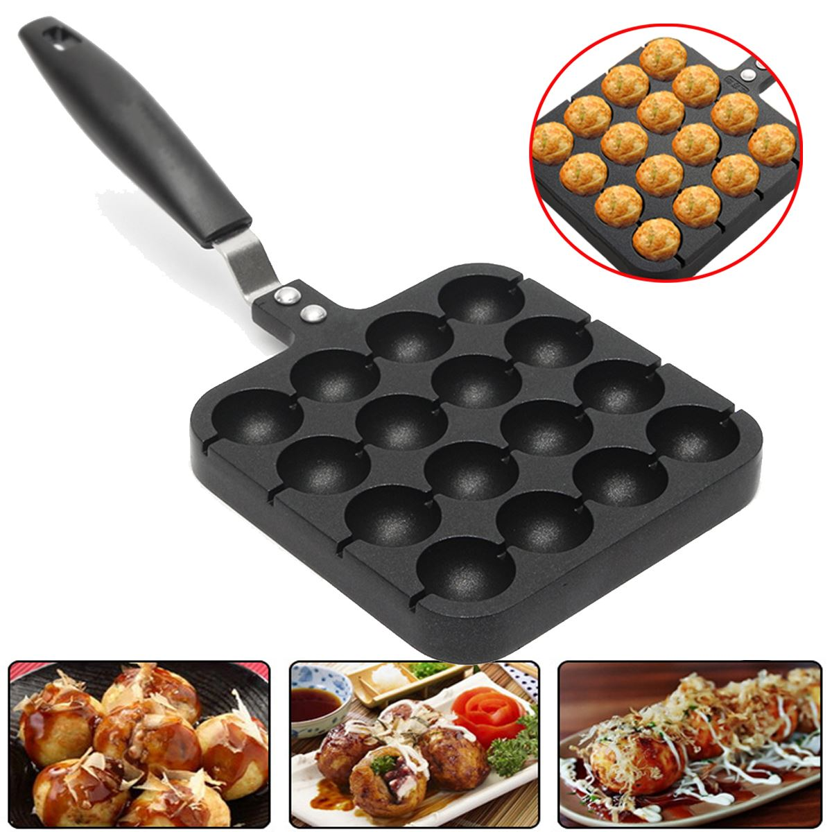 16 Holes Takoyaki Grill Pan Plate Mold Octopus Ball Maker With Handle Home Cooking Baking Decorating