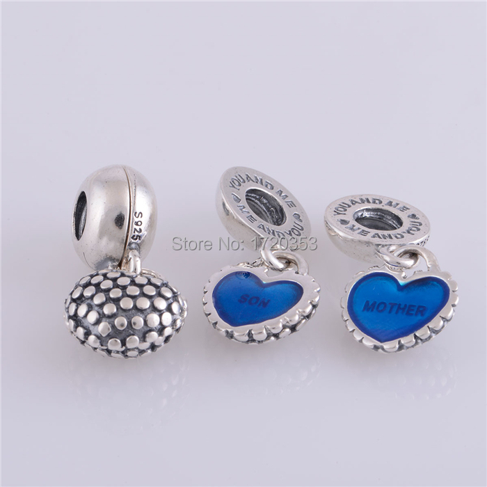 Authentic 925 Silver Blue Enamel Mother and Son Hearts Dangle Charms DIY Craft Fits women Style Charm Bracelet Necklaces DIY