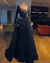 Real Sample Elegant Evening dress Formal Dress 2019 abiye gece elbisesi Muslim Long Dubai Prom Dresses Side robe de soiree