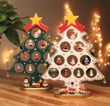 DIY Cartoon Wooden Christmas Tree Decorations Ornaments Wood Mini Christmas Trees Gift Ornament Table Decoration/1pc