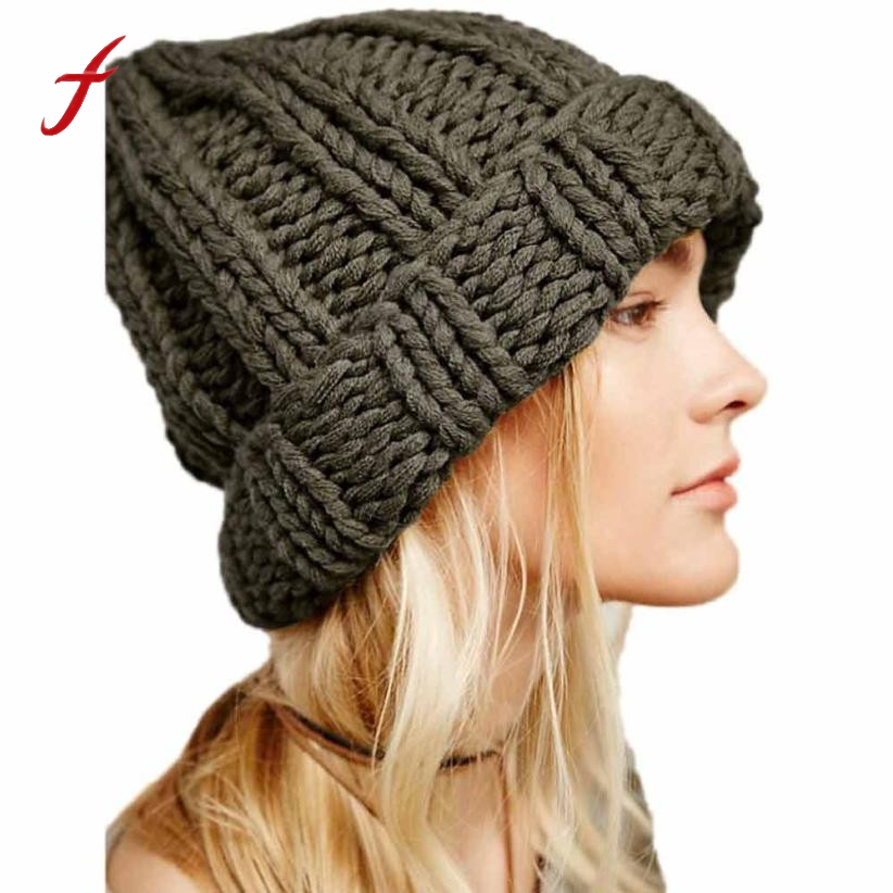 2017 New Fashion Winter Warm Women Manual  Wool Knitted Earmuffs Hats Girls Caps Baggy women's hats Thick Female Cap women's hat 2017 new fashion autumn and winter wool leaves hollow out knitting hat thick female cap hats for girls women s hats female cap