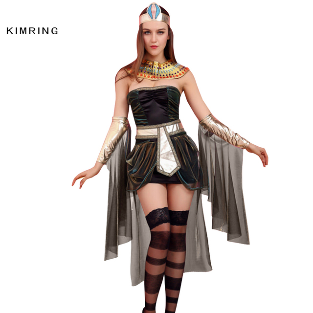 e06bf9915609a US $31.29 |Kimring Sexy Deluxe Egyptian Goddess Costume Adult Cleopatra  Egypt Womens Halloween Costume Egypt Queen Cosplay Fancy Dress on ...