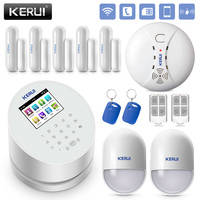 KERUI W2 2.4 Inch Screen WIFI GSM PSTN Alarm System Security Fire Smoke Smart Home Burglar Alarm System RFID Card Disalarm