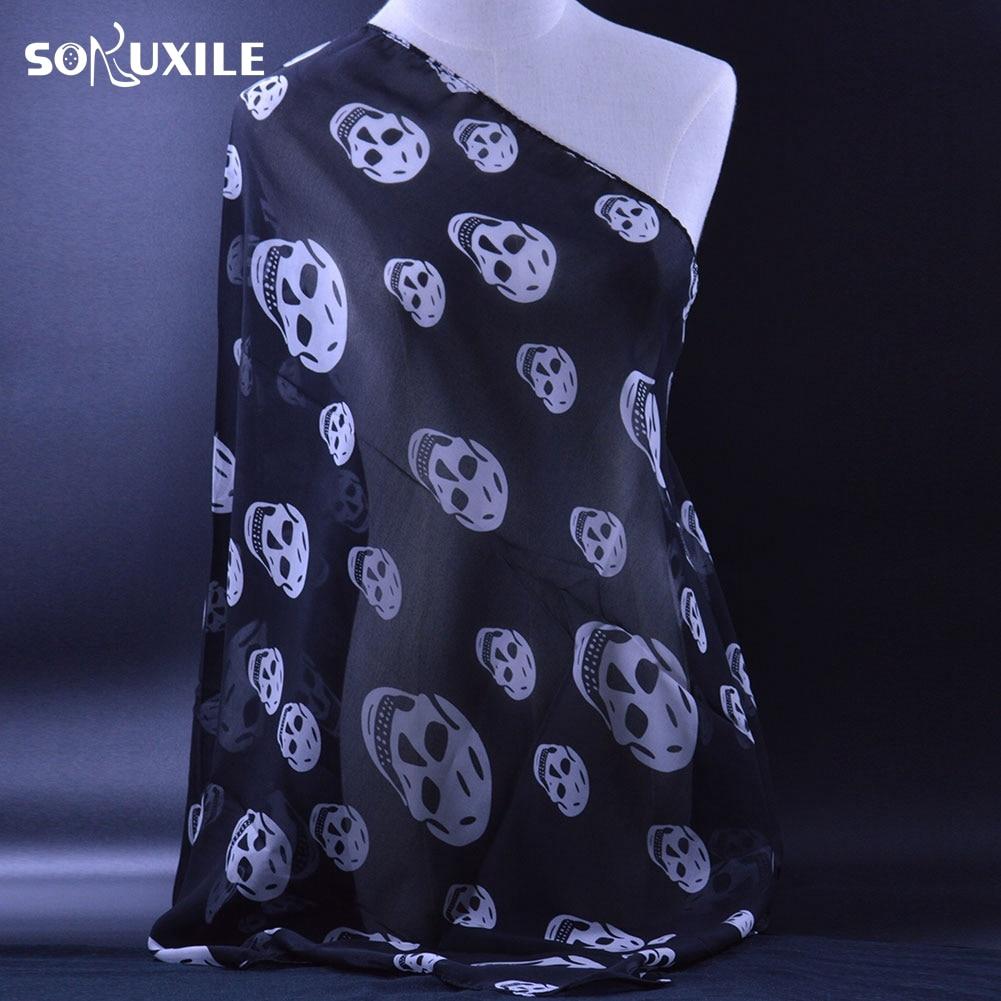 SOKUXILE Women skull Pattern Print Chiffon   Scarf     Wrap   Shawl High Quality Neckerchief Popular Style Beautiful Ladies   Scarves