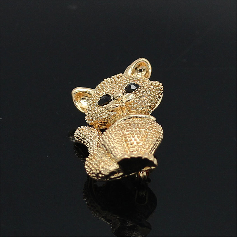 ADOLPH Star Jewelry Gold Color Cat Brooch Pins For Woman Clothers Wedding Dress Bride Animal Broochs Fashion Accessories Female