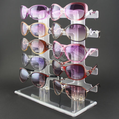 LHLL-10 Pair Acrylic Sunglasses Glasses Retail Shop Display Unit Stand Holder Case