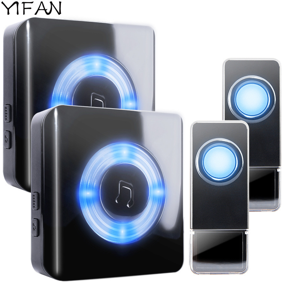 YIFAN Waterproof Wireless Doorbell EU Plug 300M range smart home Door Bell Chime 2 battery button 2 receiver Deaf LED light Deaf светильник на шине paulmann 95211