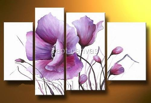 from artist T2326 Art handmade abstract oil painting on canvas modern 100% handmade purple lily flowers
