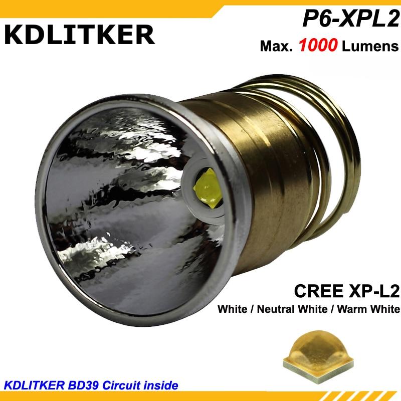 KDLITKER P6-XPL2HD Cree XP-L2 1000 Lumens 3V - 9V LED P60 Drop-in Module (Dia 26.5mm)