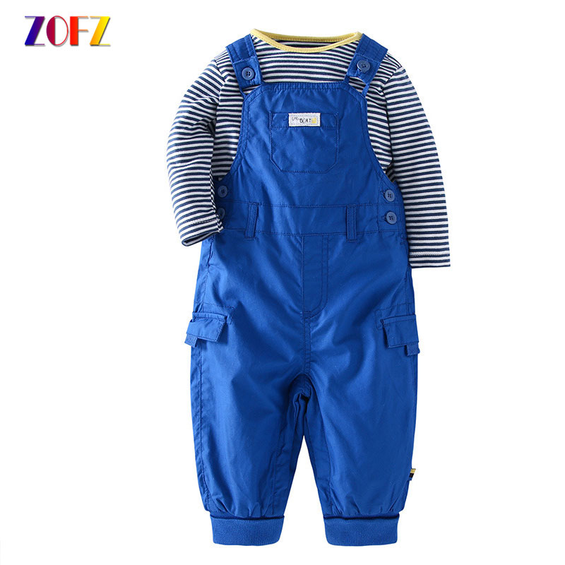 ZOFZ Baby Boy Clothes Stiped Long Sleeve Romper and Strap Trousers 2 PCS Spring and Autumn Clothing Set For Newborns Clothes