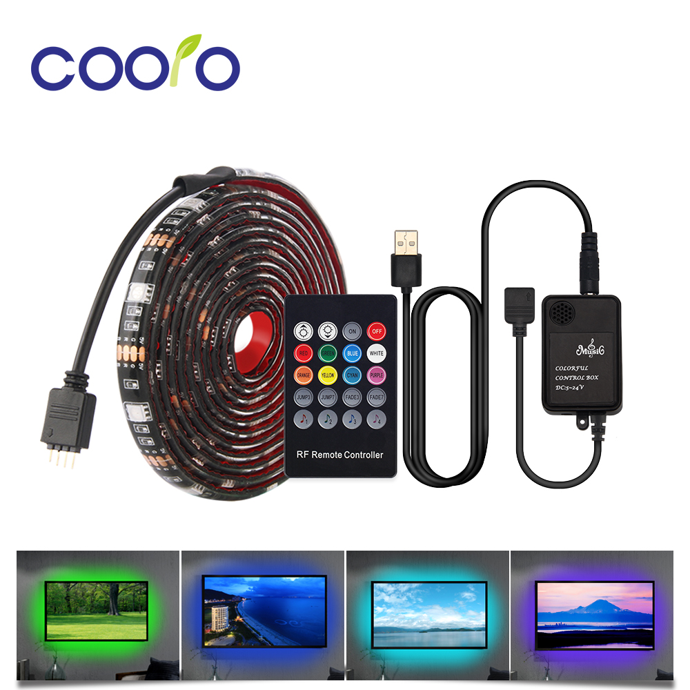 0.5M/1M/2M Led Strip Light RGB 5050 Diode Tape Led Strip Lights with Remote Music Control TV Computer monitor Background Light mini wifi rgb strip light controller with music control and voice control compatible with google home