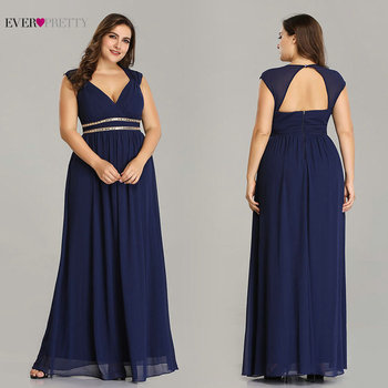 Ever Pretty Plus Size Formal Evening Dresses Long Women Elegant Burgundy V Neck Chiffon Empire Party Gown Robe De Soiree EP08697 3