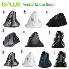 Delux ergonomik dikey fare serisi 2.4Ghz 2400 DPI ayarlanabilir optik fare bilek istirahat sağlıklı oyun fareler PC dizüstü mac