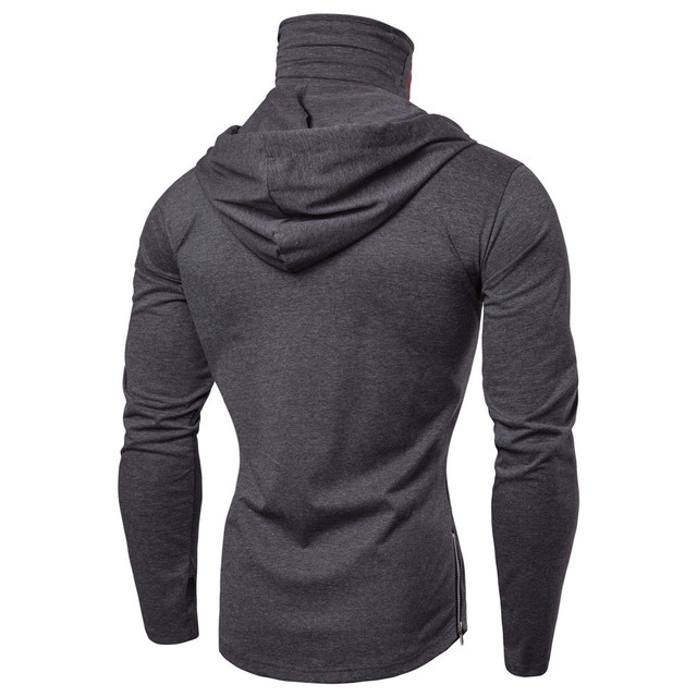 Mens Mask Skull Pure Color Pullover Long Sleeve Hooded Sweatshirt 2