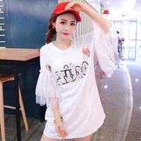sweet Style T Shirt Women Tops Summer Beading Letters O neck Flare Sleeve T shirt Women T Shirts White Short Sleeve Tees