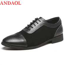 ANDAOL Mens Leather Casual Shoes Top Quality Breathable Pointed Business Office Luxury Lace-Up Wedding Dress Party